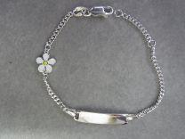 Plaat armbandje met edelweiss 13 tot 15 cm
