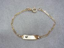 Gouden naamplaat armbandje figaro schakeltje met hartje in de plaat 13 tot 15 cm