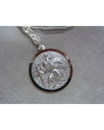 Christoffel sleutelhanger 30 mm echt zilver.