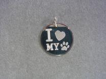 I Love my ...zilveren graveerplaatje voor je huisdier.