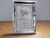 Verzilverde fotolijst met parelrand, fotoformaat 5 x 8 cm