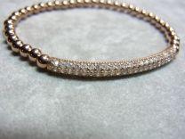 Verguld zilveren bolletjes armband, rosé met zirkonia