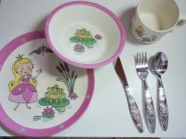 Prinses Dinner Set van bamboevezel. Kinderservies met bestek.