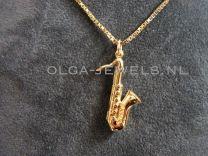 Gouden saxofoon bedel hanger