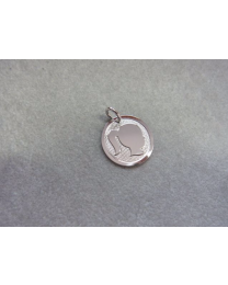 Kinderkopje zilver, meisje met paardestaart 14 mm.