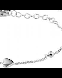 Baby armbandje zilver met 1 hartje en 2 bolletjes 9-11 cm