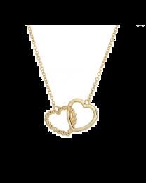 Gouden collier met 2 hartjes ertussen.
