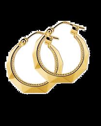Gouden creolen oorringen in facet geslepen met parelrand 20 mm