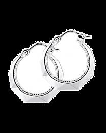 Zilveren oorringen creolen, parelrand en lapide geslepen, 17 mm.