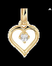 Gouden hanger hartje met 1 zirkonia erin.