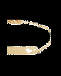 Gouden baby naamplaat armbandje hartje 9 tot 11 cm
