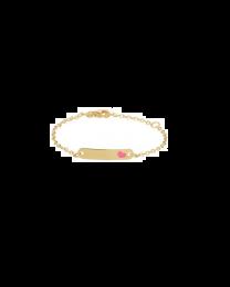 Gouden baby naamplaat armbandje roze hartje 9 tot 11 cm