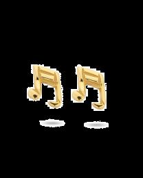Muzieknoot zilver verguld oorknopjes