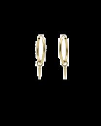 Gouden creolen met gouden kegeltje 12 mm