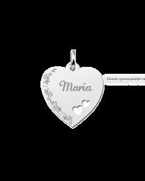 Zilveren graveerhart met naamgravure en bloemenrand