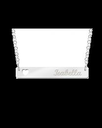 Zilveren graveer Bar met hartje en naam gravure