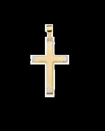 Bicolor gouden kruis witgouden accenten